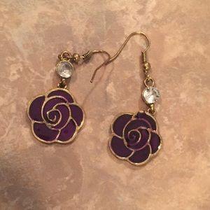 Beautiful Purple Enamel Gold-Tone Floral Earrings